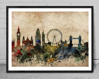 London skyline, England London print, London abstract, London Art Poster, Wall Art, London Decor, Cityspace Poster Print -x62