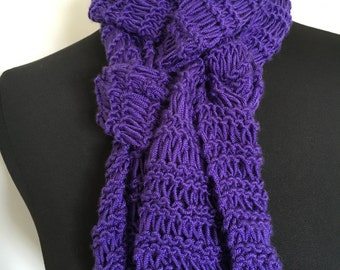 Handmade Knit Long Lacy Purple Spring Fashion Scarf