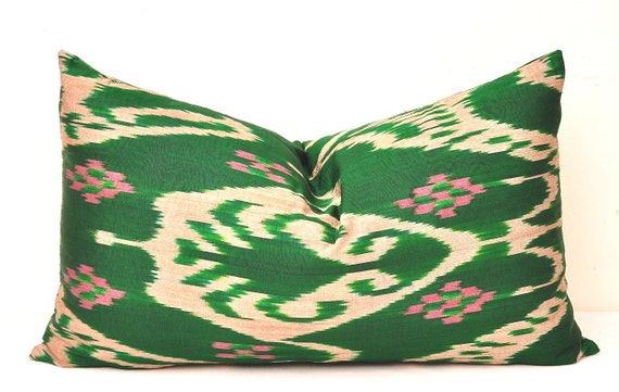 Decorative Lumbar Pillows Green : Green Pillows Green Lumbar Pillows Green Ikat pillows