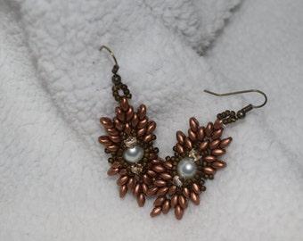 Bronze and pearl earrings