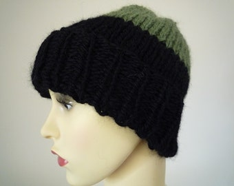 Hand knit wool and alpaca green and black beanie hat