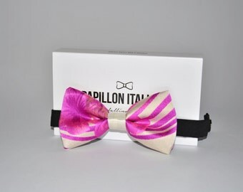 Papillon Italian silk and Lurex pink flowers-Handmade 100% Made in Italy-Bowtie