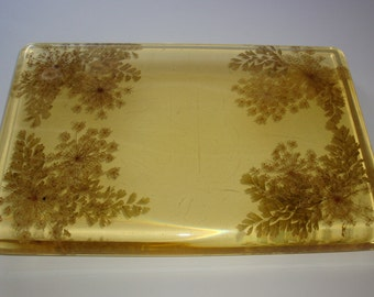 Rectangular Lucite Floral Vanity Tray