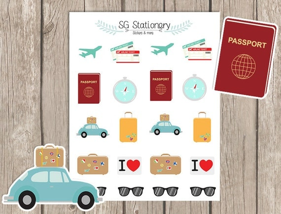 Travel Planner Stickers, for use  with Erin Condren Planner, Functional Stickers, Filofax, decor, traveling, passport, sun glasses, airplan