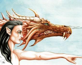 Dragons, fantasy artwork,dragons,fantasy art,prints for sale,fantasy paintings,elf prints, elf artwork,brown, dragon art, black hair