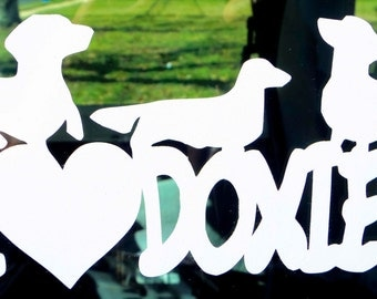 I Luv Doxies Window Decal