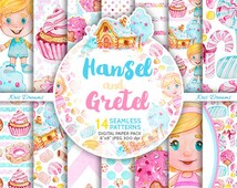 Hansel and Gretel Digital Paper Pack, Watercolor Digital Paper, Seamless Pattern, Sweets, Desserts, Cupcake, Biscuit, Candy, Blog, Planner