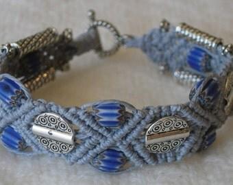 "Micro Macrame Bracelet, ""Ma Petite Blue"""