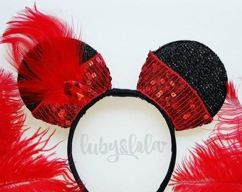 Great Gatsby Minnie Ears Black Minnie Mouse ears with Charleston Detail Flapper Girl Minnie Mouse Ears Red