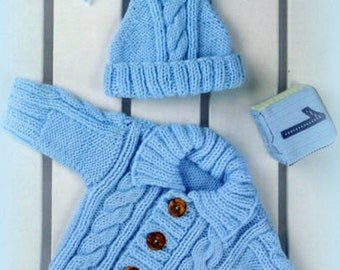 "PDF Knitting Pattern for a Aran Jacket/Coat & Hat Set to fit 16-24"" - Instant Download"