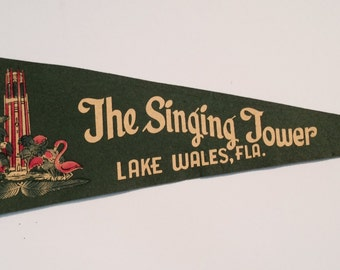 Vintage Souvenir Pennant from The Singing Tower in Lake Wales, Florida