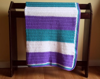 Crib Size Crocheted Blanket-Teal, Purple, White