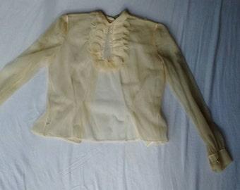 Delicate vintage blouse sheer and feminine (needs restoration)