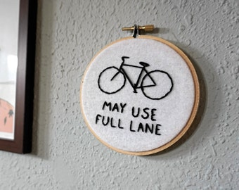 Bicycle May Use Full Lane Embroidery