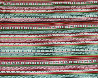CHRISTMAS STRIPE FABRIC! By The Half Yard - For Quilting and Doll Clothes / Red - Green - White - Candy