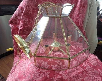"Vintage 16"" glass gold toned swag lamp"