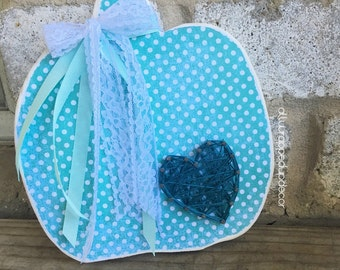 Teal pumpkin project- pumpkin wooden decor with string art heart and lace - pumpkin shape - the teal pumpkin project - teal pumpkin