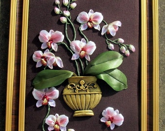 Ribbon embroidered orchids. White-and-rosy orchids. Wall hanging with orchids. Orchids in the vase