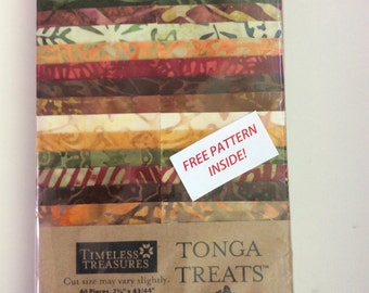 "Tonga Treat 2.5 inch strip set, ""Autumn"" Jelly Roll Quilting Fabric Batik"