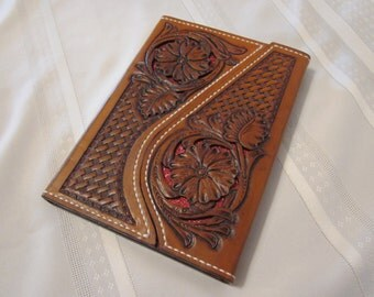 "Leather Filigreed Note Pad, Portfolio, Hand Carved, Hand Tooled, Sheridan, Western, 5"" W x 7"" H Note Pad"