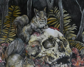 Squirrel and Skulls