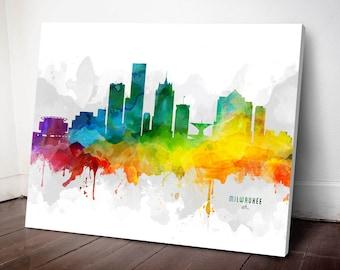 Milwaukee Skyline Canvas,  Milwaukee Print,  Milwaukee Art, Milwaukee Gift, Milwaukee Cityscape, MMR-USWIML05C