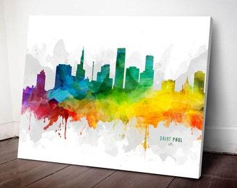 Saint Paul Skyline Canvas, Saint Paul Print, Saint Paul Art, Saint Paul Gift, Saint Paul Cityscape, MMR-USMNSP05C