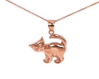 14k Rose Gold Cat Necklace