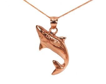 14k Rose Gold Shark Necklace