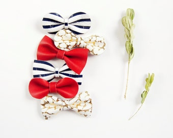 Little Girl Leather Hair Bow Crocodile Clip or Nylon Headband, Bright Summer Bows, Red, Navy Blue Stripes & Gold Crackle, Parisian Bow, Baby