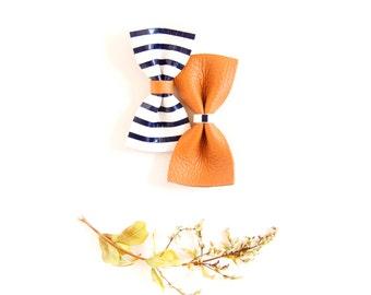 Baby Leather Hair Bow Crocodile Clip/Nylon Headband Navy Stripes & Oak Brown Bow Adult Bow, Little Girl Bow, Newborn Bows, Soft Nylon Bow