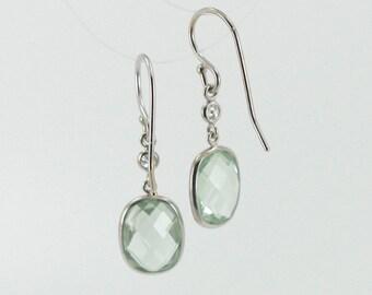 Diamond And Green Amethyst Hook Earrings Set In 14K White Gold