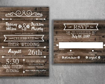 Rustic Country Wedding Invitations Set Printed - Cheap Wedding Invitations, Burlap, Kraft, Wood, Affordable, Woodsy, Lights, Outside,