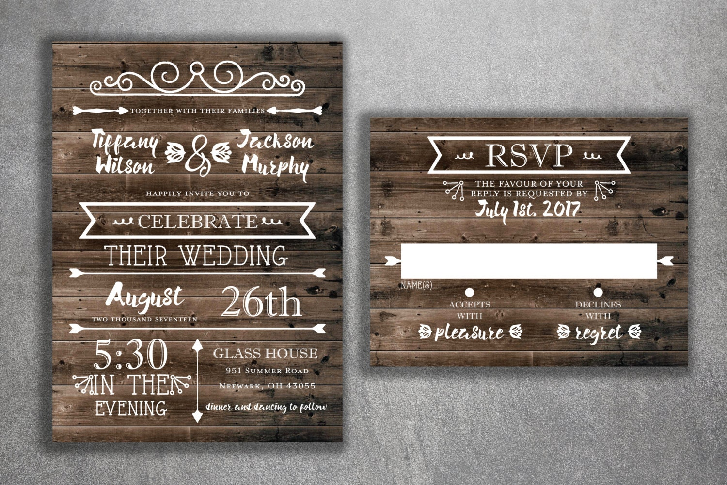 Discount Photo Wedding Invitations: Country Wedding Invitations Set Printed Rustic Wedding