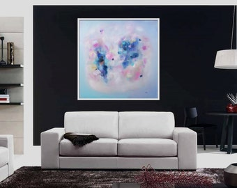 """Large original painting """"Pink and Blue on a date"""", Acrylic painting, pink, blue, Modern art, Decorative art. Abstract original"""