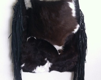 Brown & black shoulder bag made of natural fur cow and leather, new unique handmade bag.