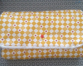 Changing customizable travel mat. Portable mattress. Sponge white and cotton fancy yellow, red, white. for baby