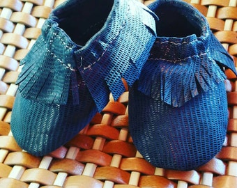 Baby moccasins-handmade genuine leather Loafers-printed lizard-ideal first steps-soft