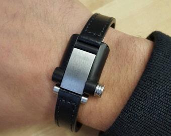 Stainless steel black leather bracelet for men