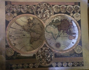 Antique World Map by Peter Schenk the Elder 1645-1715