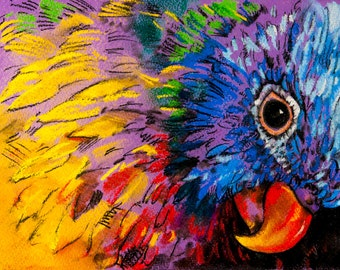 Beautiful parrot.Instant download.JPG and TIFF files for printing an original pastel painting.