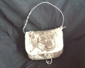 Brown and white felted bag/purse
