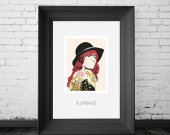 Florence Welch, Florence and the Machine. A4,A3 and A2 Hand and Digitally Drawn Poster. By Mike Moran