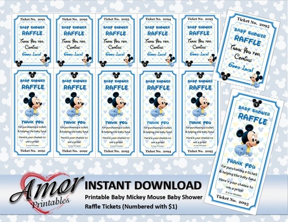 mickey mouse baby shower raffle tickets numbered with 1