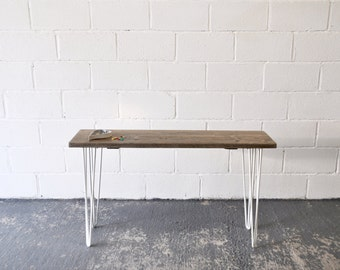 Reclaimed Wood Console Table Industrial Rustic Vintage Scaffold Wood Side Table Rustic Furniture COLOURED Steel Hairpin legs Bespoke Table