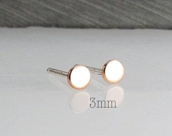 3mm Rose Gold Filled Minimalist Earrings,Flat Earrings,Disc Earrings,Dot Earrings,Dainty Earrings,Stud Earrings,Gold Earrings,Handmade