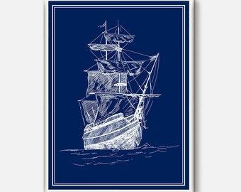 Old Ship Print, Vintage Ship Poster, Nautical Decor, Boat Print, Ship print, Sailor poster, navy Wall Art, Ocean Art Print, sailboat print