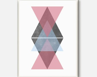 Scandinavian Print, Triangle Print, Minimalist Print, Geometric Printable, Triangle Art Print,  Nordic Geometric Art, Minimalist Home Decor