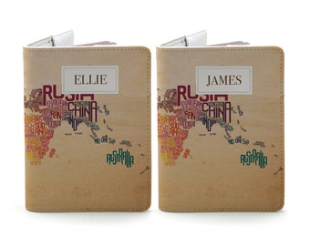 Let's Travel The World - Personalized couple passport cover/holder - Travel Passport Cover - High Quality Handmade Leather |TPS-PPC-630,631