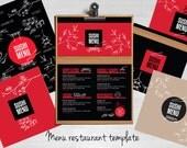 Food Menu, Sushi Restaurant Flyer, DIY Printable Digital Menu